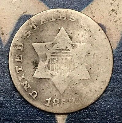 1852 3C Three Cent Silver Piece Vintage US Coin #MM37