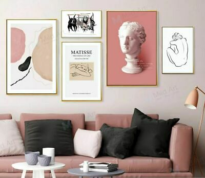 Modern Abstract Pink Color Shape Statue Sketch  Poster Print Painting Home Decor
