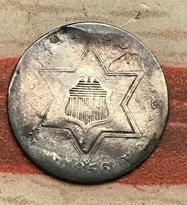 1856 3C Three Cent Silver Piece Vintage US Coin #MM40 Better Date
