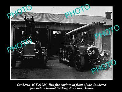 Old Large Historic Photo Of Canberra Act 2 Fire Engines At The Fire Station 1925