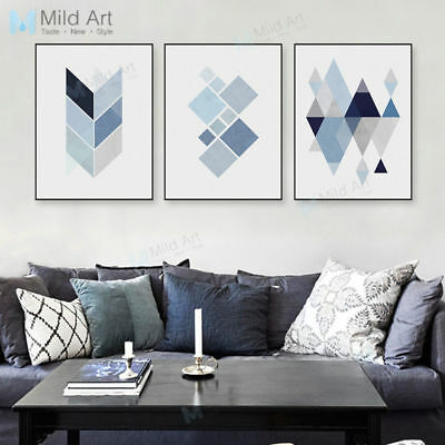 Modern Blue Abstract Geometric Shape Canvas Art Print Poster Painting Home Decor