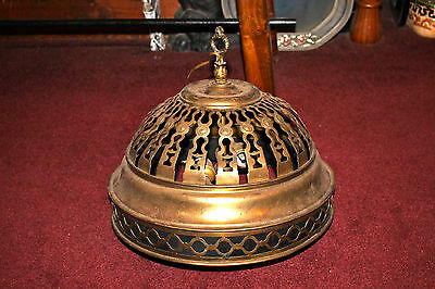 Vintage Art Deco Brass Metal 2 Light Dome Shape Hanging Chandelier-Architectural