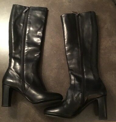 New Women's Aquatalia Knee High Boots Black Leather Size 6
