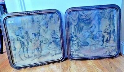 Matched Pair Victorian Frames with Tapestry Victorian Scenes