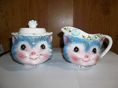 Exquisite Antique 'miss Priss' Kitty Creamer & Covered Sugar Lefton Porcelain