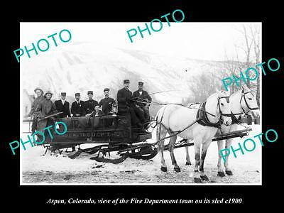 Old Large Historic Photo Of Aspen Colorado, The Fire Department Crew & Sled 1900