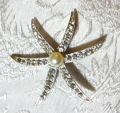 Vintage STARFISH Ladies Hair Barrette Clip ~ Clear Rhinestones ~ Unsigned