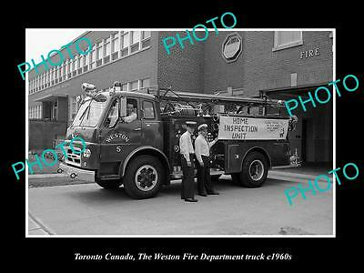 OLD LARGE HISTORIC PHOTO OF TORONTO CANADA, WESTON FIRE DEPARTMENT TRUCK c1960