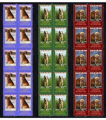 Golden Retriever Year Of Dog Set Of 3 Mint Stamp Strips