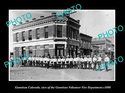 OLD LARGE HISTORIC PHOTO OF GUNNISON COLORADO, THE FIRE DEPARTMENT CREW c1890