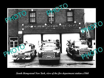OLD LARGE HISTORIC PHOTO OF Sth HEMPSTEAD NEW YORK FIRE DEPARTMENT STATION c1960
