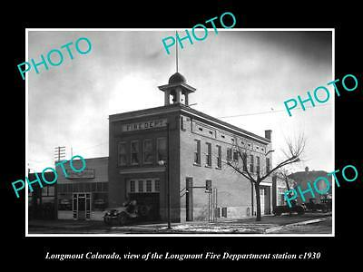 Old Large Historic Photo Of Longmont Colorado, The Fire Department Station 1930