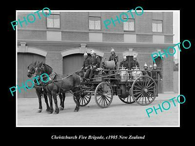 Old Large Historic Photo Of Christchurch Fire Brigade Station, 1905 New Zealand