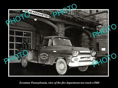 OLD LARGE HISTORIC PHOTO OF SCRANTON PENNSYLVANIA, FIRE STATION  TOW TRUCK c1960