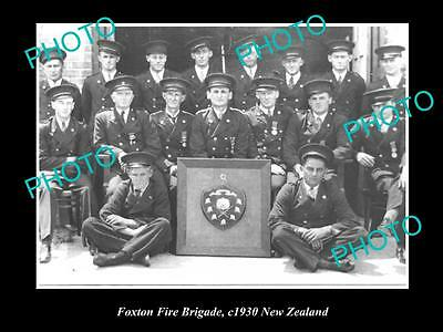 Old Large Historic Photo Of Foxton Fire Brigade Crew, 1930 New Zealand