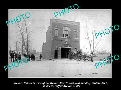 OLD LARGE HISTORIC PHOTO OF DENVER COLORADO, No 2 FIRE DEPARTMENT STATION c1900