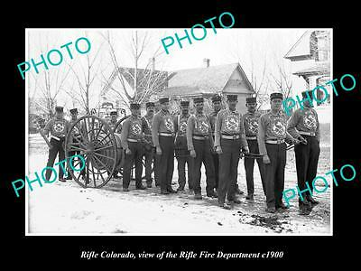 OLD LARGE HISTORIC PHOTO OF RIFLE COLORADO, THE FIRE DEPARTMENT CREW c1900 2