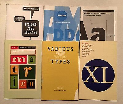 6 Emigre Type Catalogs & Type Specimen books