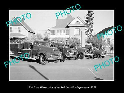 OLD LARGE HISTORIC PHOTO OF RED DEER ALBERTA, THE FIRE DEPARTMENT CREW c1950 2