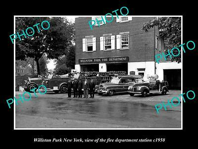 Old Large Historic Photo Of Williston Park New York Fire Department Station 1950