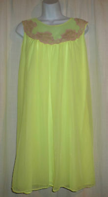 Vtg Yellow double layer chiffon ecru lace nightgown gown negligee M