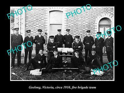 OLD LARGE HISTORIC PHOTO OF GEELONG VICTORIA, THE FIRE BRIGADE TEAM c1910