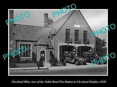 OLD LARGE HISTORIC PHOTO OF CLEVELAND OHIO, THE NOBEL Rd FIRE DEPARTMENT c1930
