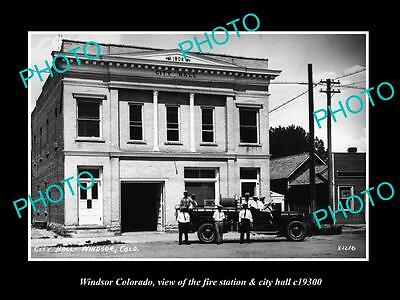 OLD LARGE HISTORIC PHOTO OF WINDSOR COLORADO, THE FIRE DEPARTMENT STATION c1930