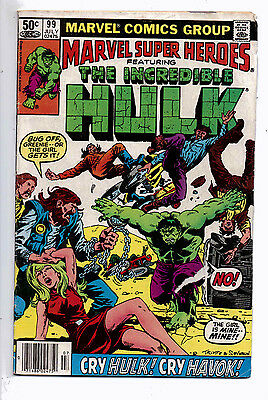 Marvel Super Heroes #99(VG) and #100(F-VF), 1981, reprints Hulk #150 and 151