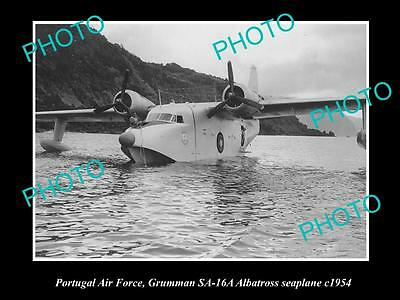 OLD LARGE HISTORIC AVIATION PHOTO OF PORTUGAL AIR FORCE GRUMMAN SEAPLANE c1954