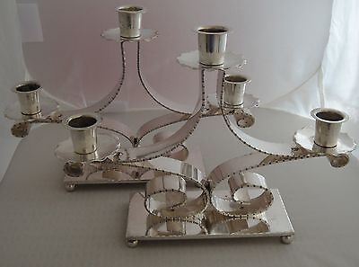 Rare Augsburg Silverplate Candleabras Candle Holders Secessionist Nouveau German