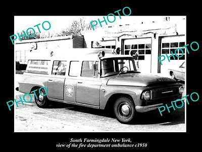OLD LARGE HISTORIC PHOTO OF FARMINGDALE NEW YORK FIRE DEPARTMENT AMBULANCE c1950