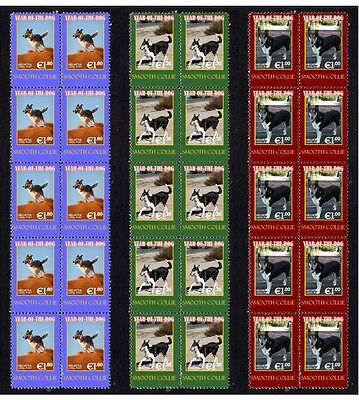 Smooth Collie Year Of Dog Set Of 3 Mint Stamp Strips