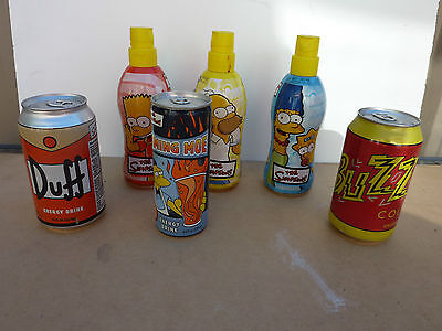 THE SIMPSONS LOT of 6 EMPTY SOFT DRINK BOTTLES and CANS - HOMER BART MARGE & MOE