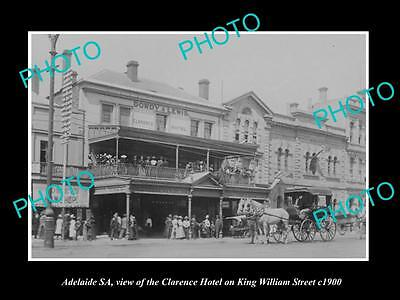 OLD LARGE HISTORIC PHOTO OF ADELAIDE SA, CLARENCE HOTEL ON K/WILLIAMS St c1900