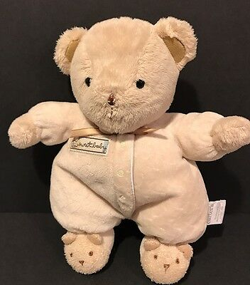 """Carters 8"""" Just one Year SWEET BABY Bear Rattle Lovey Plush Stuffed Animal Toy"""