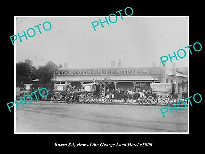 OLD LARGE HISTORIC PHOTO OF BURRA SOUTH AUSTRALIA, THE GEORGE LORD HOTEL c1900