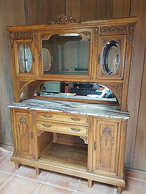 Antique French Louis XV Oak Sideboard Marbled Top with Crystal Cabinet