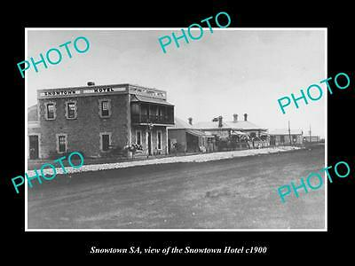 OLD LARGE HISTORIC PHOTO OF SNOWTOWN SOUTH AUSTRALIA, THE SNOWTOWN HOTEL c1900