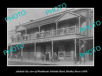 OLD LARGE HISTORIC PHOTO OF ADELAIDE SA, VIEW OF WOODHEADS HOTEL HINDLEY St 1910