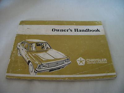 Chrysler Car Owners Handbook – Avenger models – Ref 1165