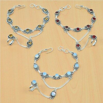 Wholesale 3Pc 925 Silver Plated Faceted Ruby Bracelet-Ring Bridal Hathphoollot