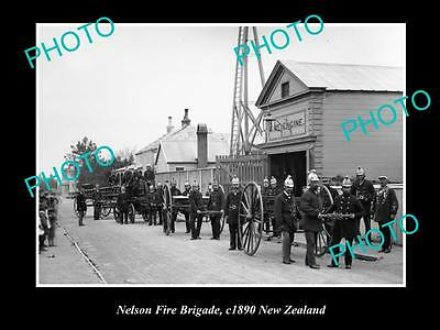 Old Large Historic Photo Of Nelson Fire Brigade Station, 1890 New Zealand
