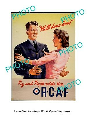 Large Historic Photo Of Canadian Air Force Rcaf Wwii Recruiting Poster 4
