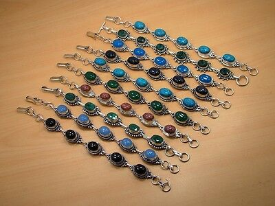 Wholesale Lot 10Pc 925 Silver Plated Turquoise & Mix Stone Bracelet Jewelry