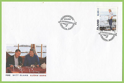 Aland 2005 Borg Bjorn FDC with fish bait pmk