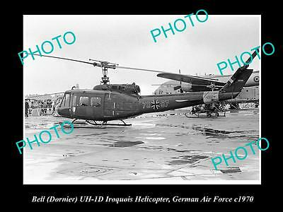 OLD HISTORIC AVIATION PHOTO OF BELL IROQUOIS HELICOPTER, GERMAN AIR FORCE c1970