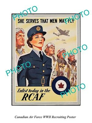Large Historic Photo Of Canadian Air Force Rcaf Wwii Recruiting Poster 2