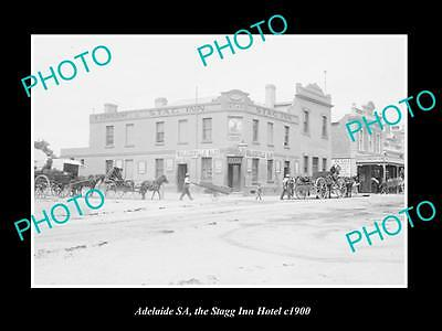 OLD LARGE HISTORIC PHOTO OF ADELAIDE SA, VIEW OF THE STAG INN HOTEL c1900