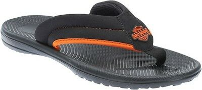 Harley-Davidson® Men's Bar & Shield Banks Flip Flops Sandals Black Orange D93415